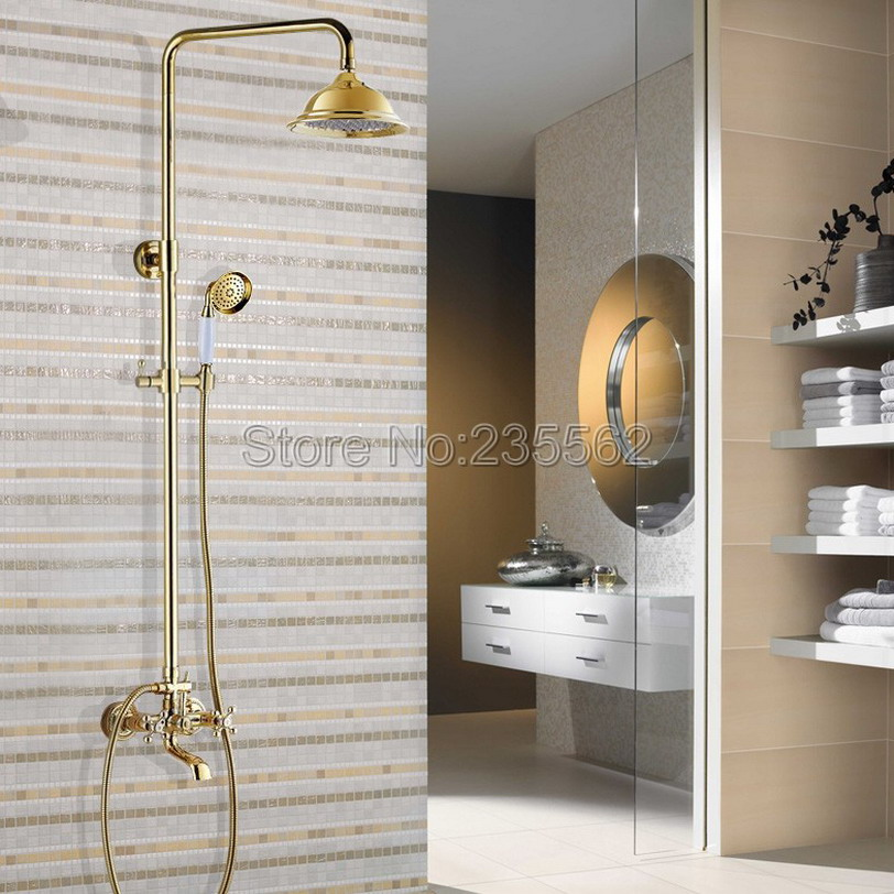 Gold Color Brass Rain Shower Faucet Set Bath Tub Shower Faucet W/ 8.2 inch Shower Head + Hand Shower lgf353