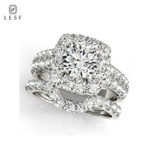 LESF Ring-Sets Halo Engagement Round Wedding-Anniversary 1-Carat-Sona Bridal Women Jewelr