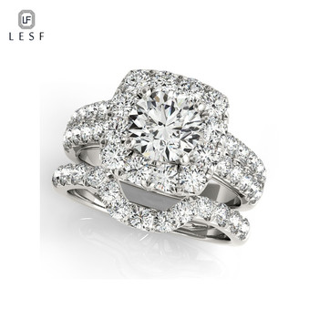LESF 925 Sterling Silver Engagement Ring Sets 1 Carat Sona Round Cut Women Wedding Anniversary Bridal Halo Ring Sets Jewelr 0 1 carat sona synthetic diamond fashion ring 925 sterling silver gold plated ring us size from 4 to 10 5 dfe