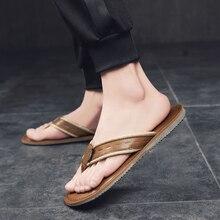 Crazy horse skin flip flops retro casual trend summer slippers