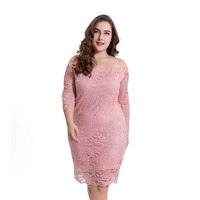 QMGOOD Big Size Cold Shoulder Sexy Lace Dress Womens Large Clothing Black Pink Slash Neck Plus Size Sexy Mom Dress High Waist