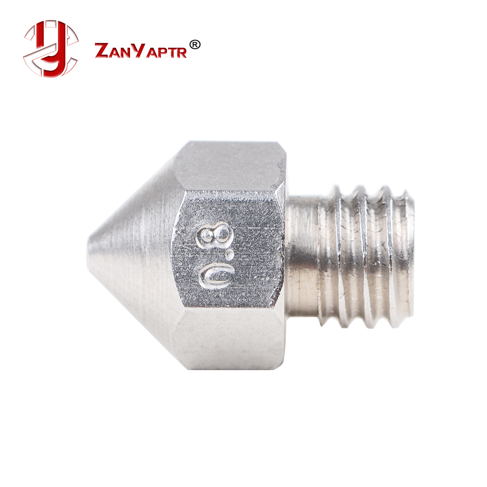 MK8 Stainless Steel M6 Nozzle 0.25mm/0.3mm/0.4mm/0.5mm/0.6mm/0.8mm For 1.75mm 3D Printer
