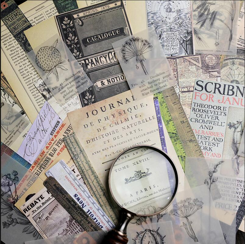 50pcs/pack Vintage Plant illustrated old paper ruler newspaper mix material paper DIY Scrapbooking Projects Card Making Crafts50pcs/pack Vintage Plant illustrated old paper ruler newspaper mix material paper DIY Scrapbooking Projects Card Making Crafts