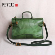 AETOO Original handmade handbags small bags retro vegetable tanned leather shoulder diagonal first layer personality art