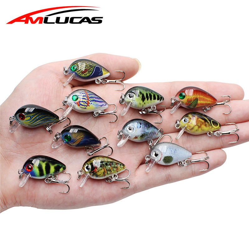 Amlucas Fishing Lures Floating Hard-Bait Bass Crazy-Wobblers Artificial Mini Topwater