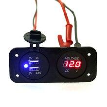 Usb digital del voltímetro del coche de la CC 12 v 24 v de La Motocicleta + usb 5 v 2.1A/1A Carga Del Coche a prueba de agua adaptador de Toma De Corriente Para El Barco Auto