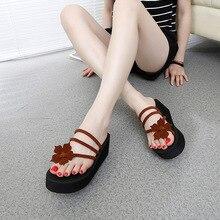 2018 Summer New High Heels 6cm Wedge Shoes Women Flip Flops Thick Bottom Ladies' Slippers Sweet Flowers Clip Toe Outdoor Sandals