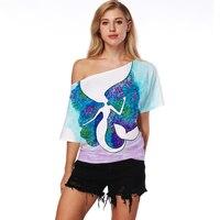 2018 neue Mode Frauen Tshirt Boot-ausschnitt 3D Meerjungfrau Digitaldruck Frauen Beiläufige Lose T-shirt Weibliche Elegante Sommer Tops