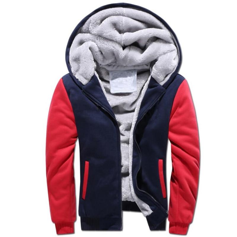 Winter Thicken Velvet Hoodies Men Casual Patchwork Zipper Hooded Coat Warm Cardigan Tracksuit Sweatshirt Male Outwear Male 5XL