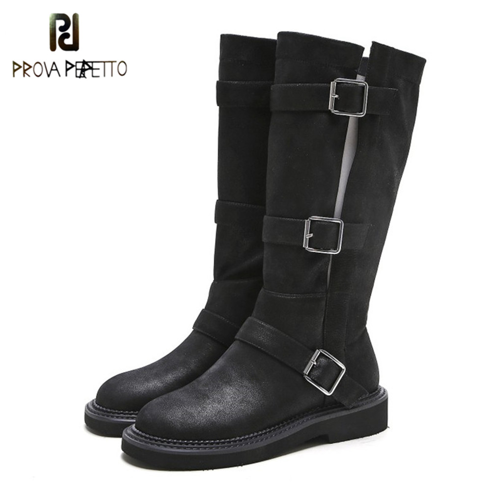 Prova Perfetto Retro Autumn Winter Women High Boots Black Flat Platform Boots Metal Buckles Punk Boots Brand Design Botas Mujer trendy women s boots with solid color and buckles design