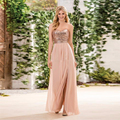 2017 Sequins Top Bridesmaid Dresses Long Wedding Party Dress Sexy Split Side A Line Sweetheart Backless vestido madrinha BN08