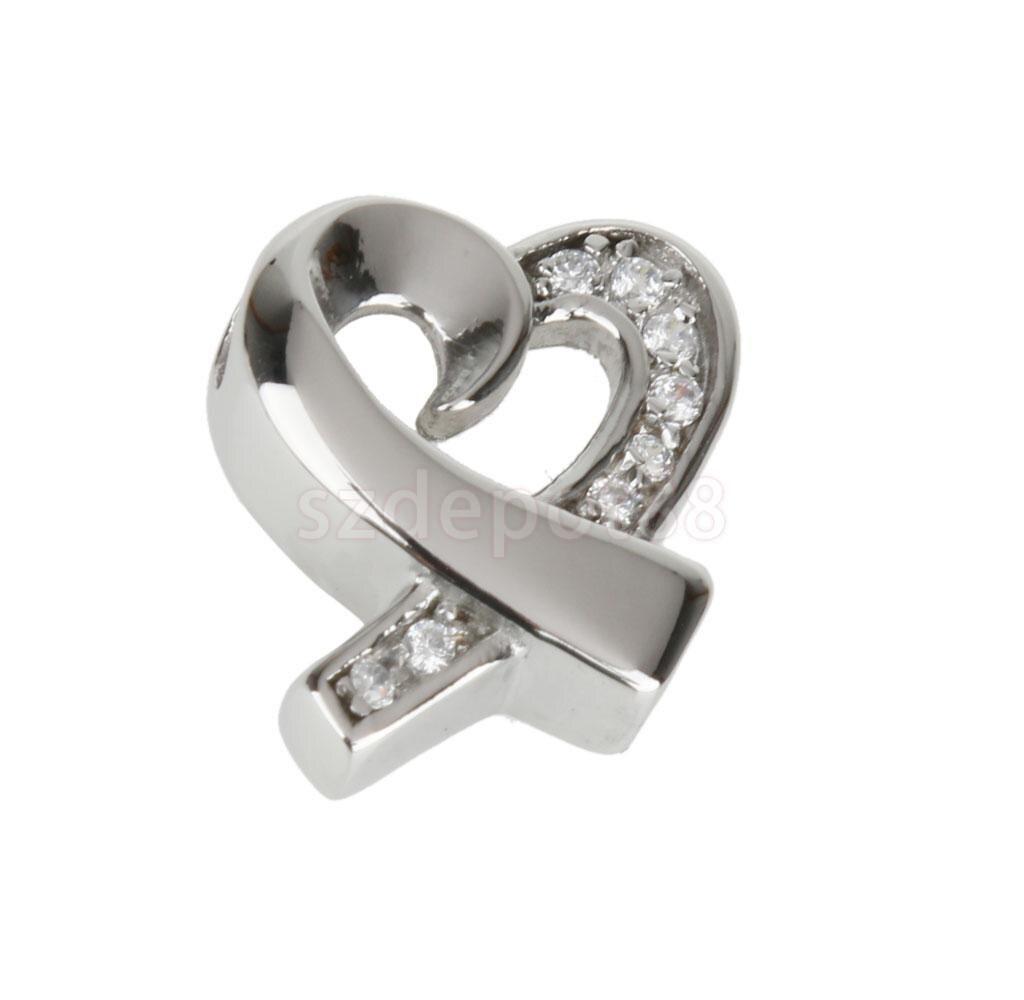 Fashion Ribbon Heart Rhinestone Cremation Keepsake Memorial Ash Urn Pendant Necklace Jewelry
