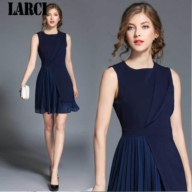 1399adebcd414 US $27.88 |LARCI Sleeveless Blue Summer Dress Vestidos Verano 2018 Vestido  Casual Women Party Beach Dress Robe N5260 -in Dresses from Women's Clothing  ...