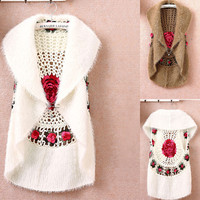 Hot sale New Fashion High Quality Autumn Winter women's crochet cape vest sweater outerwear casual cardigan women sweater 1210