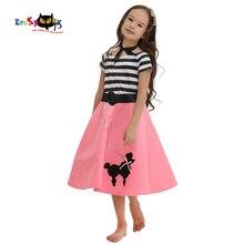 eraspooky 50s pink girls poodle skirt dress halloween costume for kids carnival party vintage modern grils