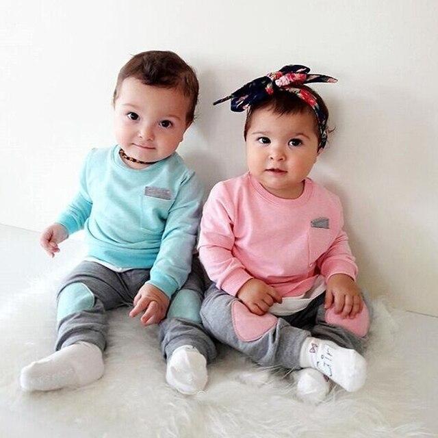 2018 otoño moda Bebés Ropa 2 piezas Set recién nacido Niño niño niños niña  ropa T 9df99aee5beb