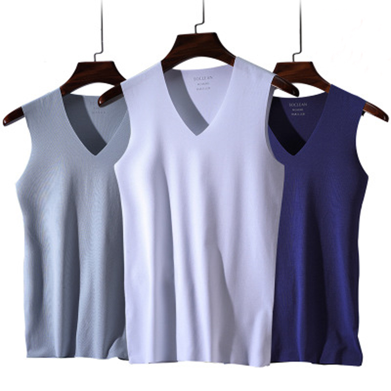 New Ice Silk Men Solid Tank Tops Sexy V Neck Sleeveless Vests Man Sexy No Trace Youth Elastic Fitness Casual Bodybuilding Suits