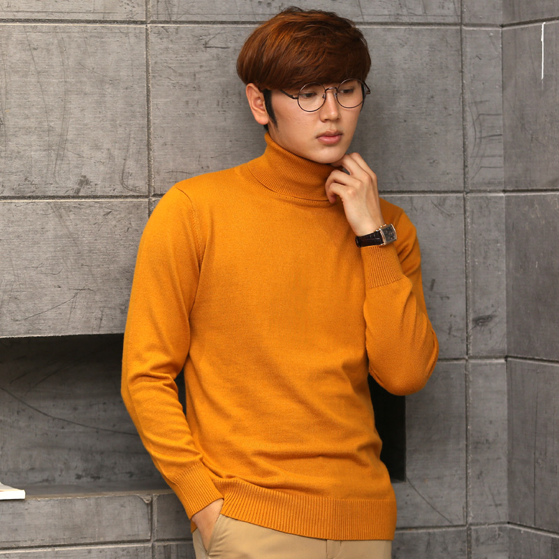 2017 Pure Color Cashmere Men's Turtleneck Sweaters Casual Thicken Male Knitted Cashmere Sweater Loose Pullover Men Wool Sweater