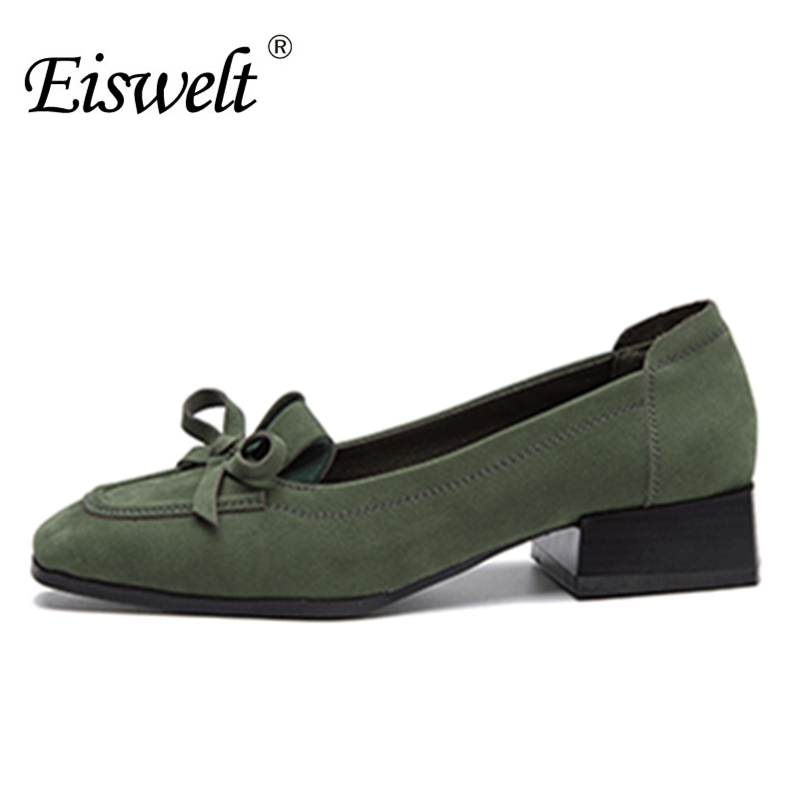Eiswelt Fashion Ladies Low Heels Shoes Causal Square Toe Pumps Comfort Thick Heel Bow kont Shoes