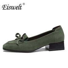 Eiswelt moda zapatos causales del dedo del pie cuadrado de las señoras tacones bajos bombas comfort talón grueso arco zapatos # zjf82 kont