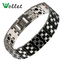 Wollet Jewelry Gifts For Valentine's Day Mens 5 in 1 Germanium Tourmaline Magnetic Energy Stainless Steel Bracelet Men Black