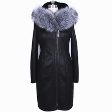 Factory Direct Supplier Collar Fox Faux Fur Coat Women long Winter Fashion plush Slim Hooded Thickened Suede plus size 2017 New