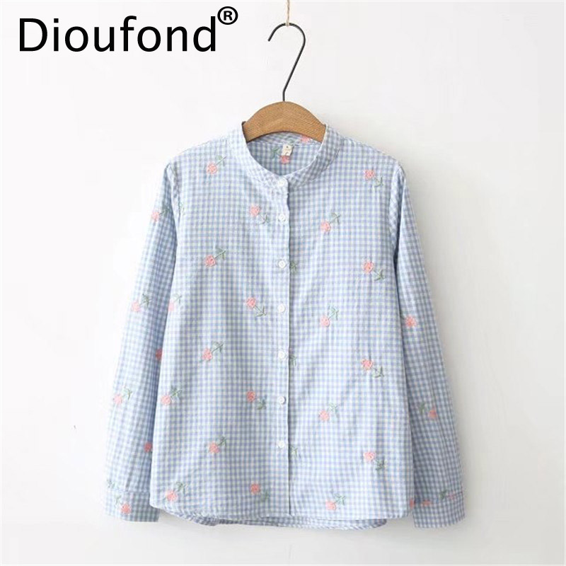 Dioufond Women Embroidered Floral Plaid Shirt White Blue