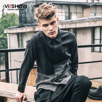 VIISHOW Mens Dress Shirts Long Sleeve Hip Hop Slim Fit Casual 3XL Business Shirt Big Sizes Patchwork Leather Shirts C107853