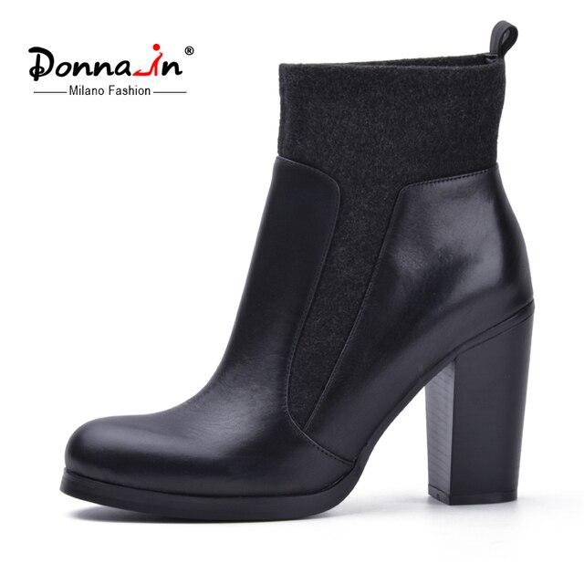 Donna-в осень и зима новая коллекция шерстяная одежда короткие сапоги Высокое качество телячьей кожи женская обувь ботильоны