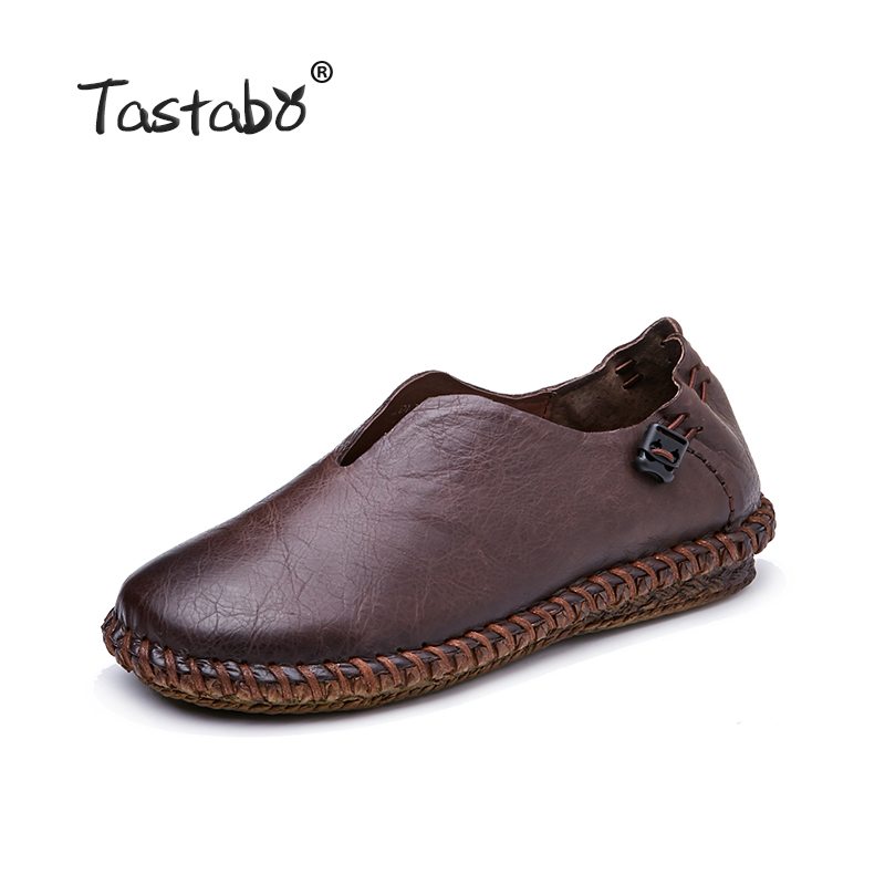 Tastabo Woman Genuine Leather Flat Shoes Fashion Hand sewn Leather Loafers Female Casual Shoes Women Flats
