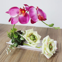 Artificial Butterfly Orchid Rose Bonsai Fake Silk Flower White Flowerpot Wedding Party Christmas Home Decoration