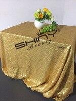 Shiny Beauty 48x72inch Matt Dark Gold Sequin Tablecloth Elegant Sequin Table Linens For Wedding Christmas Table