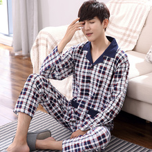Plus Size M 4XL Men Pajamas Set Autumn and Winter Men Pyjamas Long Sleeve turn down