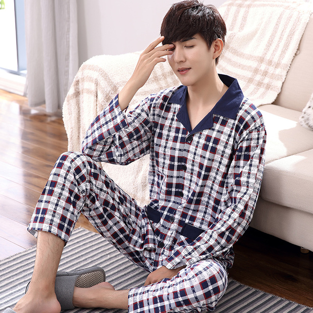 Plus Size M-4XL Men Pajamas Set Autumn and Winter Men Pyjamas Long Sleeve turn-down Collar Sleepwear 100% Cotton Pyjamas