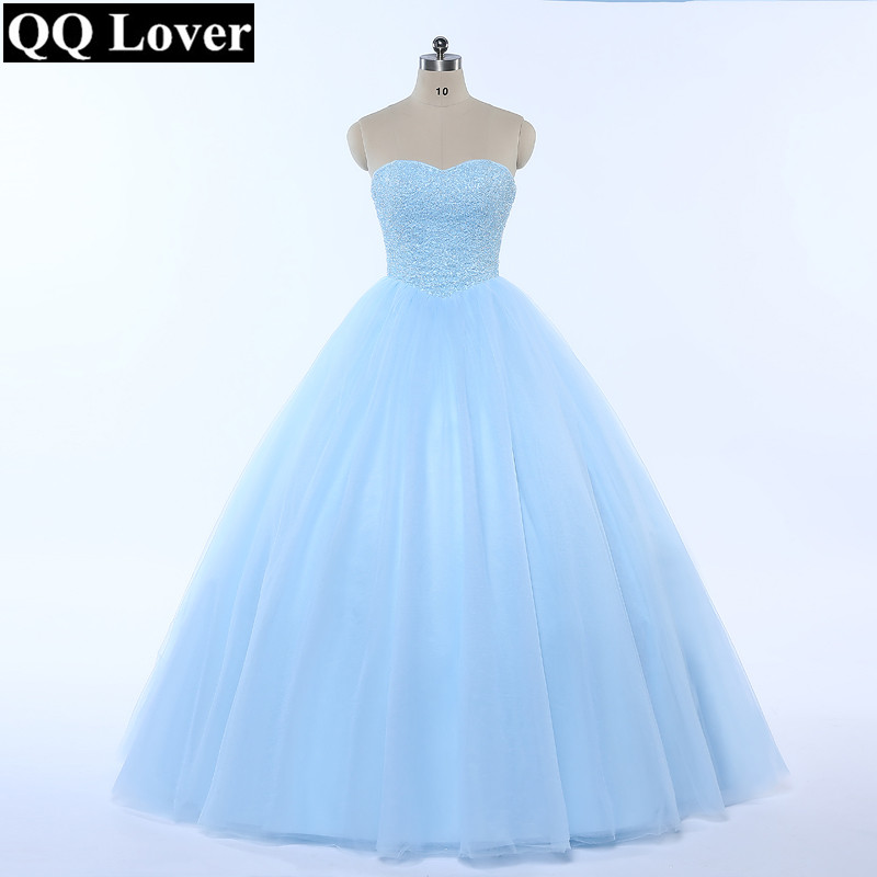 QQ Lover 2019 New Ball Gown Wedding Dress Bling Bling Full Beading Sky Blue Wedding Gown