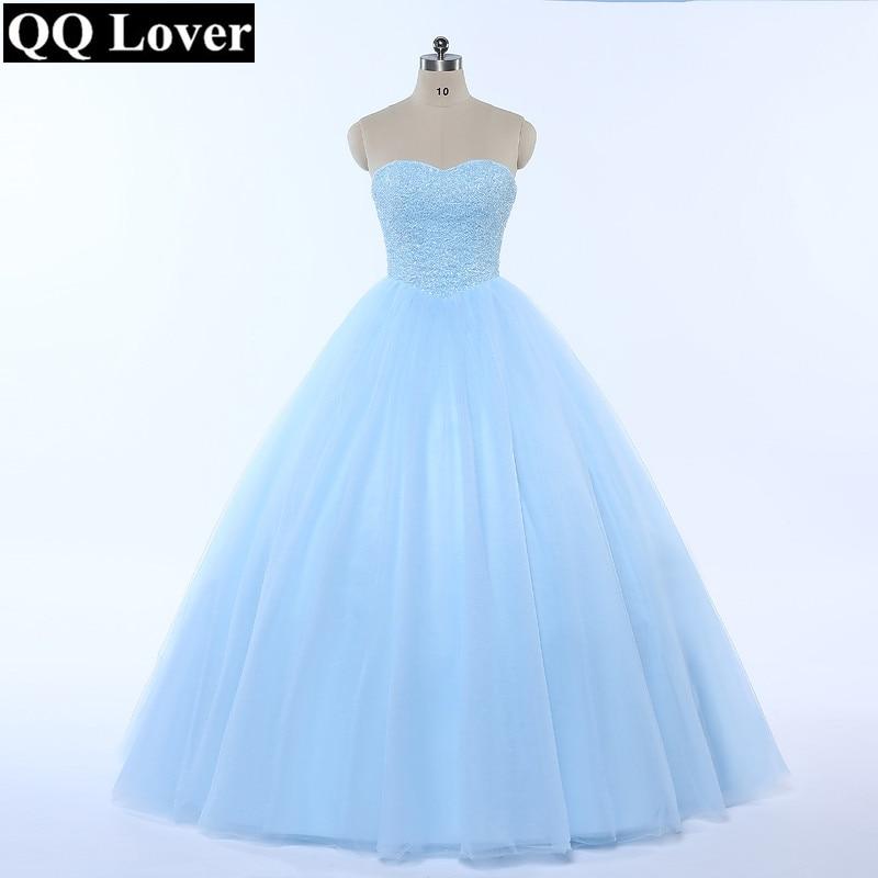 QQ Lover 2019 New Ball Gown Wedding Dress Bling Bling Full Beading Sky Blue Wedding Gown Vestido De Noiva