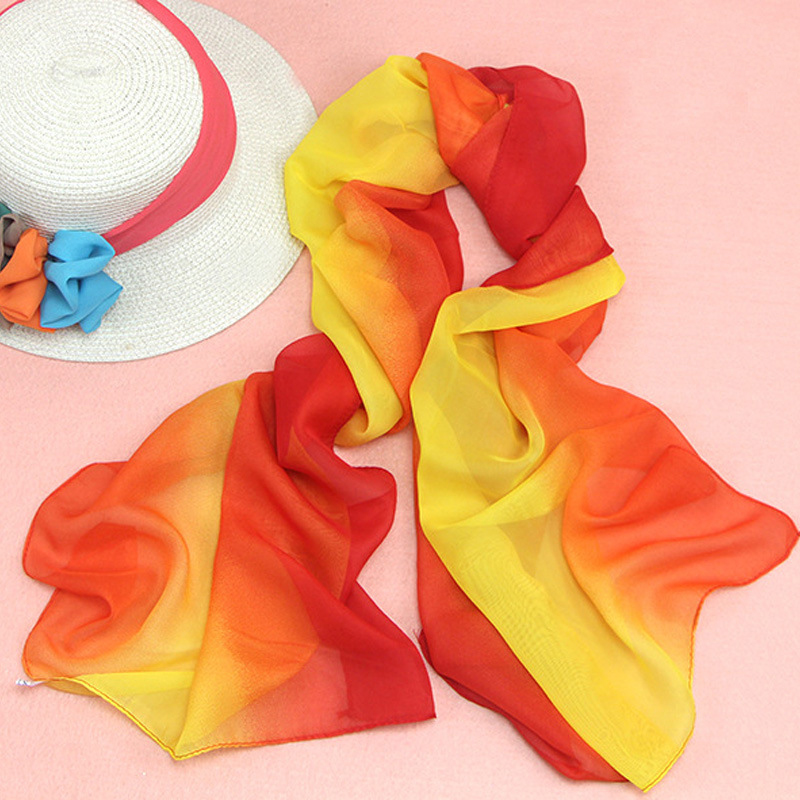 BONJEAN 2019 Hot Sales Mutil Colors Shawl Scarf Summer Outdoors Sunscreen Rainbow Beach Gradient Thin Chiffon Scarvels SW 035 in Women 39 s Scarves from Apparel Accessories