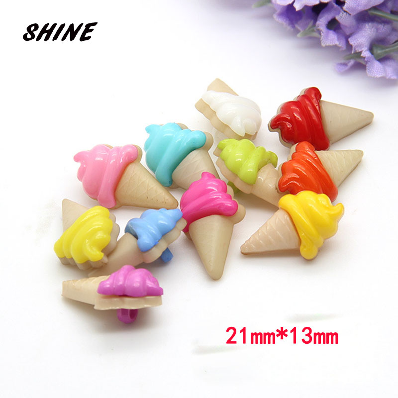 SHINE Resin Sewing Buttons Scrapbooking Icecream Multicolor Mixed Shank Cartoon 21 x 13mm 50 PCs Costura Botones Decorate