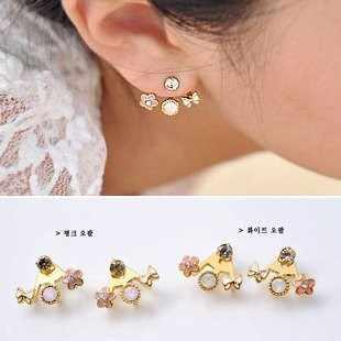 2019 Crystal Jewelry Fashion Korean Cute Lovely Style Rhinestone Butterfly Flower Mounted Stud Earrings for Women