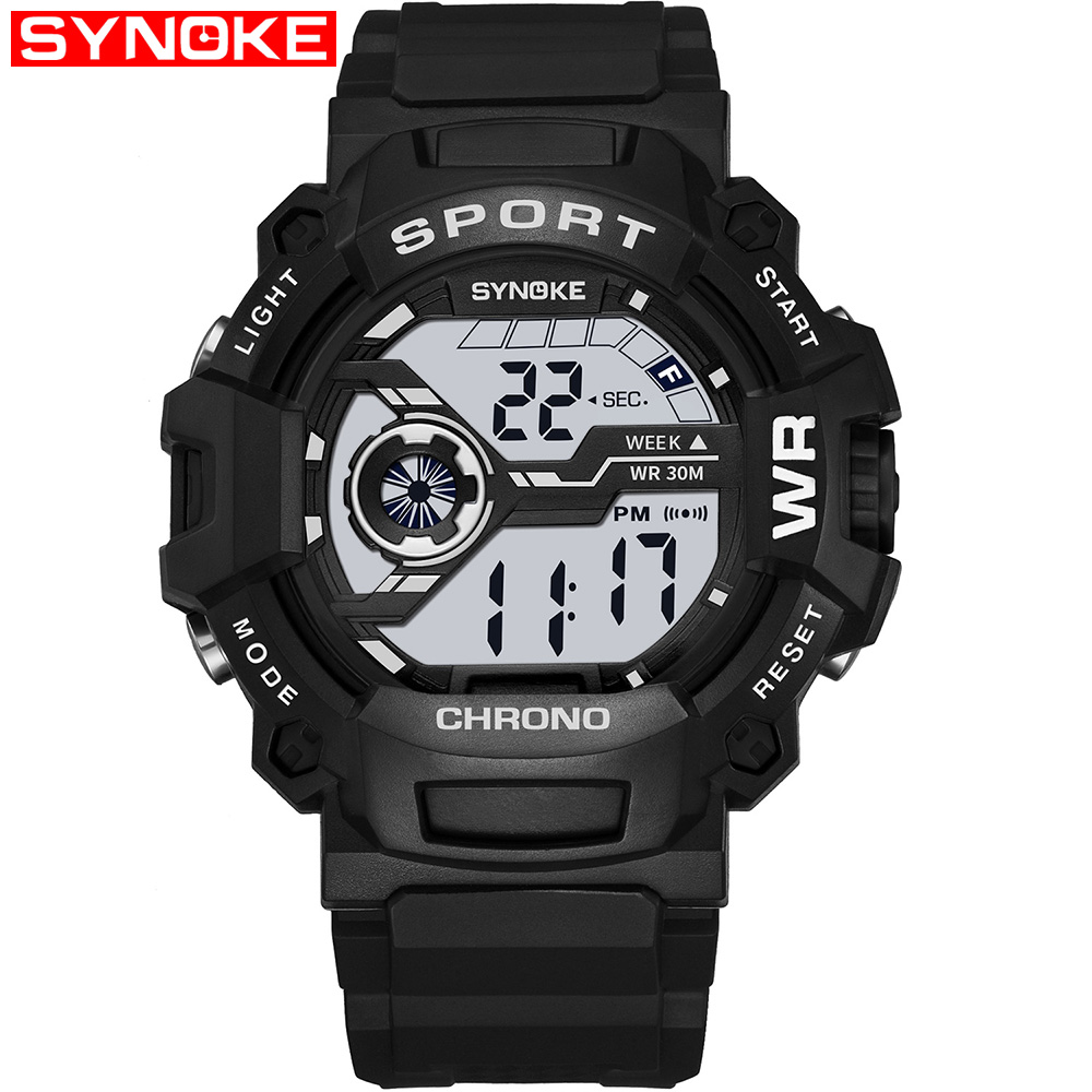 SYNOKE Men Sport Watches Student Children Watch Boys Male Clock 2019 LED Digital Wristwatch font b