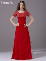2017 Sparkle Red Modest Bridesmaid Dresses Short Sleeves  Beaded Chiffon Long Floor Length A-line Temple Wedding Guest Dress