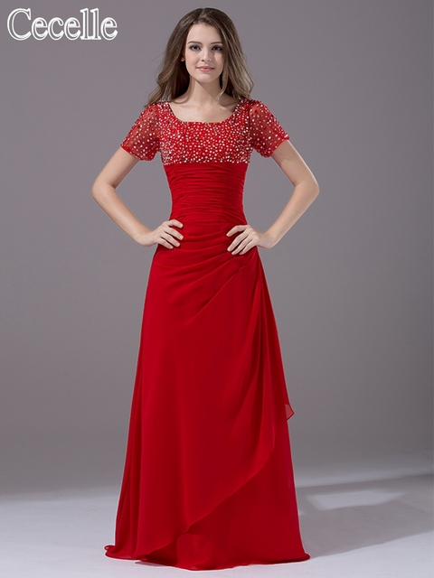 2017 Sparkle Red Modest Bridesmaid Dresses Short Sleeves Beaded Chiffon Long Floor Length A Line