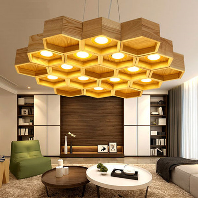 Modern Art Contracted Creative Personality Vintage Wooden Honeycomb LED Pendant Light Living Room Decoration Lamp Free Shipping