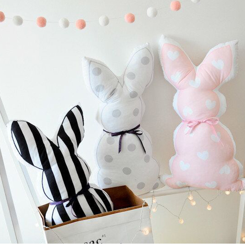 Cute Ribbon Rabbit Back Cushion Kids Room Sofa Bed Decoration Cushions Stripe Wave Point Children Sleep Pillow Doll Gift 55x30cm