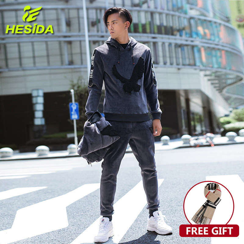3 Pieces Set Hoodie Sweatshirt Men Tracksuit Velour Velvet Fleece Warm Hoodies Winter Coat Hooded Casual Pullover Men Sport Suit
