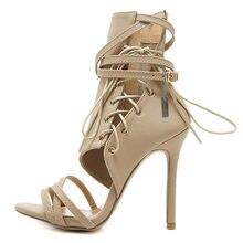Señoras correa del tobillo del partido vendaje Zip Sandalias Zapatos más  tamaño 34-43 mujeres Sexy verano encaje hasta Cruz tram. 4462cfb396b0