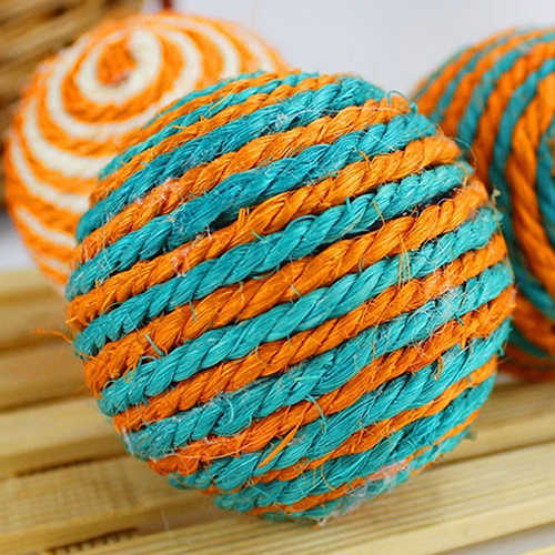 Cat Pet Sisal Rope Weave Ball Teaser Play Woven Ball Chewing Rattle Scratch Chat Catch Toys for Cat