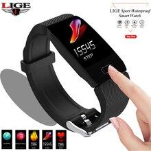 The Latest 2019 Original LIGE Smart Color Bracelet Heart Rate Fitness 90mAh Bluetooth 4.0M 50M Swimming Waterproof Pulse Watch
