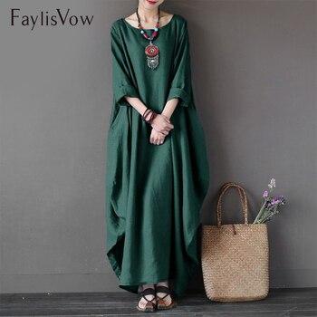 Faylisvow Nữ Cổ tròn Dài Tay Dài Đầm maxi Mùa Hè Thu Cotton Linen Váy Áo Dây Áo Plus Kích Thước Kích Thước Lớn áo