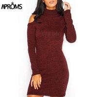 Aproms Elegant Solid Color Knitted Pencil Dress Women Vintage Slim Off Shoulder Sweater Dress Winter Outfits